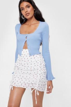 Nasty Gal Womens Thank You Cherry Much Ruched Mini Skirt - White
