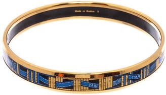 Hermes Gold-Plated Narrow Enamel Bangle