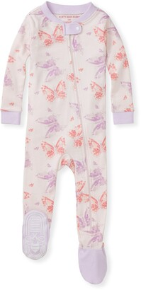 Burt's Bees Butterfly Buddies Organic Baby Zip Front Snug Fit Footed Pajamas