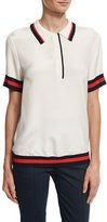 St. John Striped-Trim Polo Shirt, White