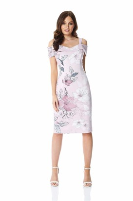 Roman Originals Women Floral Print Cold Shoulder Dress - Ladies Summer Spring Elegant Cruise Wedding Cocktail Flower Special Occasion Mother of The Bride Groom Cruises - Light Pink - Size 18