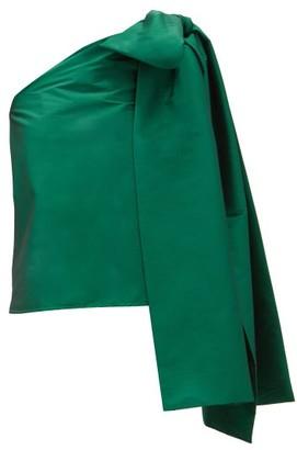 BERNADETTE Winnie One-shoulder Taffeta Top - Green