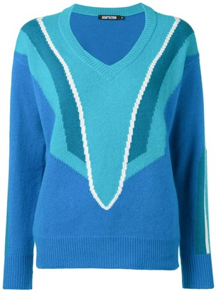 Adaptation Patterned V-Neck Jumper