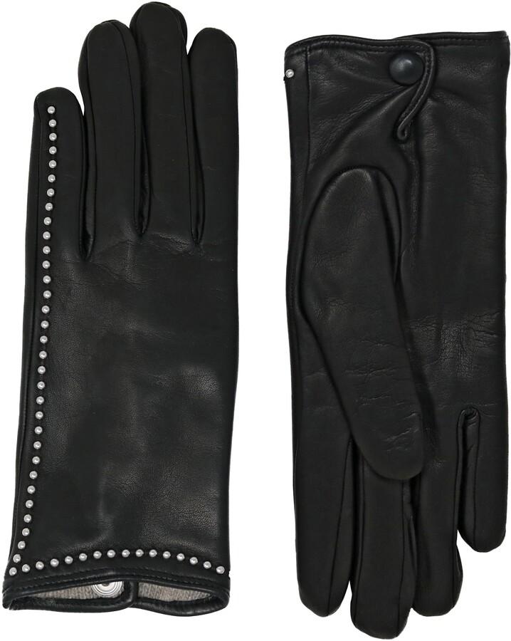 NICOLETTA ROSI Women's Stud Trim Cashmere Lined Lambskin Leather Gloves