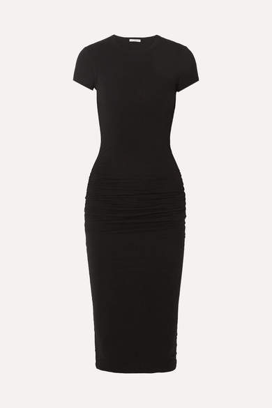 James Perse Ruched Stretch-cotton Jersey Midi Dress - Black