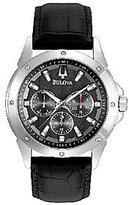 Bulova Men's Sport Black Leather Strap Watch