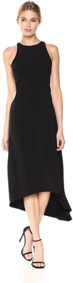 Halston Women's Sleeveless High Neck Crepe Dress with Back Cut Out