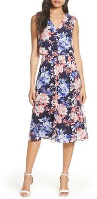 Donna Ricco Floral Sleeveless Chiffon Midi Dress