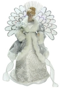 "Northlight 13"" Lighted Fiber Optic Angel in Silver Gray Gown Christmas Tree Topper"