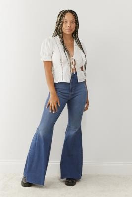 Free People Just Float On Dark Blue Flare Jeans - Blue 25 at Urban Outfitters
