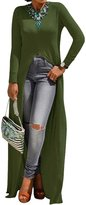 Zilcremo Women Autumn Casual Long Sleeve Round Neck High Slit Slim Maxi T-Shirt Dress Navygreen S
