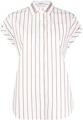 Brunello Cucinelli Brass-Embellished Striped Shirt
