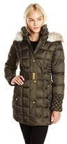 Betsey Johnson Women's Puffer Coat with Faux-Fur Hood