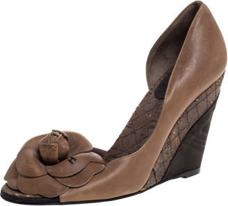 Chanel Brown Leather, Cork And Moire Fabric Peep Toe D'Orsay Wedge Pumps Size 37
