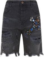 Faith Connexion Embellished Distressed Denim Shorts