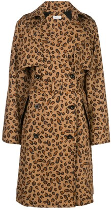 Rosetta Getty Leopard-Print Trench Coat
