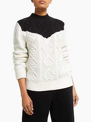 Collection WEEKEND by John Lewis Contrast Chunky Cable Knit Jumper, Black/White