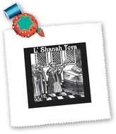 3dRose LLC Florene - Jewish Themes - Print of Vintage Black n White New Years Scene - Quilt Squares - qs_194706_4