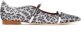 Malone Souliers Maureen Leather-trimmed Leopard-print Lurex Point-toe Flats