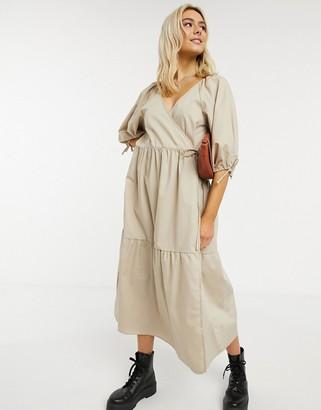 ASOS DESIGN cotton poplin smock wrap midi dress in stone