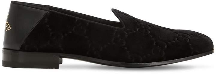 Gucci Open Gallipoli Gg Velvet Loafers