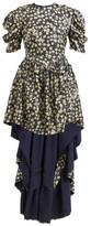 Preen by Thornton Bregazzi Sammie High-low Hem Silk-blend Dress - Womens - Navy Print
