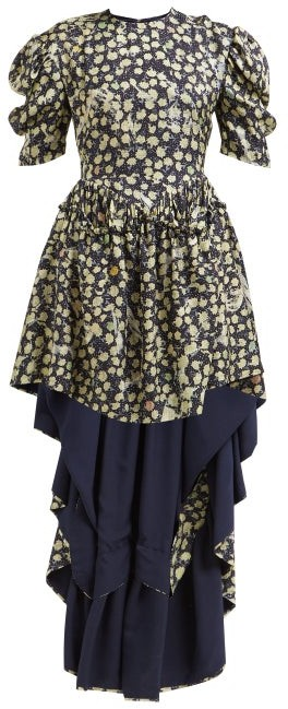 Preen by Thornton Bregazzi Sammie High-low Hem Silk-blend Dress - Navy Print