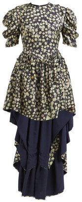 Preen by Thornton Bregazzi Sammie High-low Hem Silk-blend Dress - Womens - Navy Print