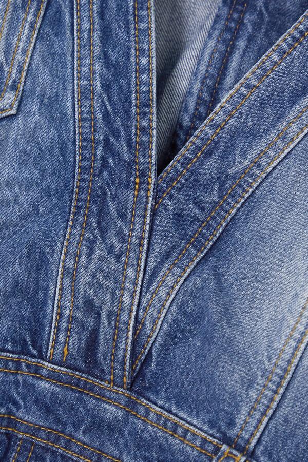 Thumbnail for your product : Balmain Button-embellished Denim Mini Dress - Blue