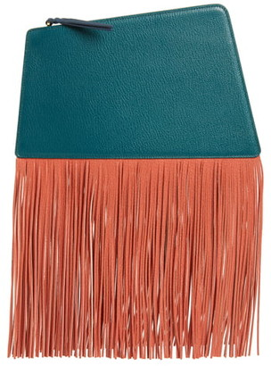 THE VOLON Dia Fringe Leather Clutch