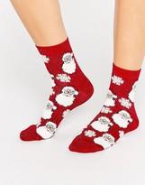 Asos Holidays Glittery Santa Ankle Socks In Bauble