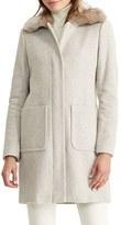 Lauren Ralph Lauren Petite Women's Wool Blend Coat With Faux Fur Collar