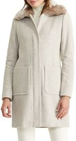 Lauren Ralph Lauren Women's Wool Blend Coat With Faux Fur Collar