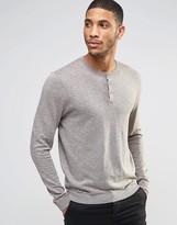 Asos Grandad Neck Jumper In Grey Cotton