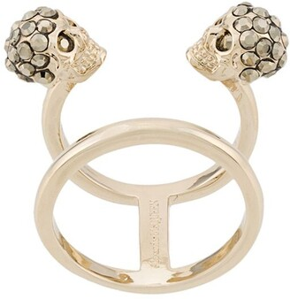 Alexander McQueen Twin Skull double ring