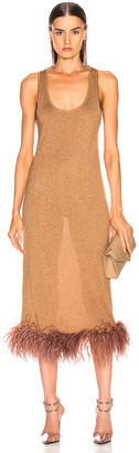 ZEYNEP ARCAY Midi Feather Knit Dress in Bronze | FWRD