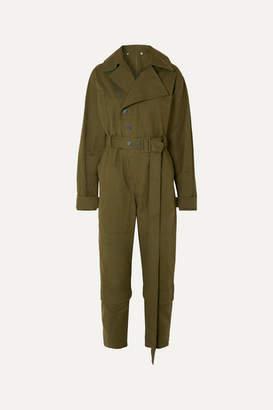 Stella McCartney Belted Cotton-canvas Jumpsuit - Green