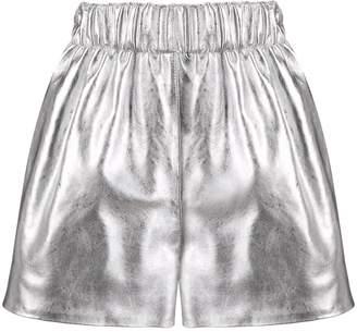 Manokhi leather metallic shorts