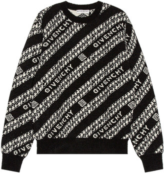 Givenchy Chain Crew Neck Sweater in Black & White | FWRD