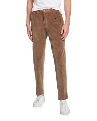 Marco Pescarolo Men's Pleated Corduroy Trousers with Elastic Waist, Beige