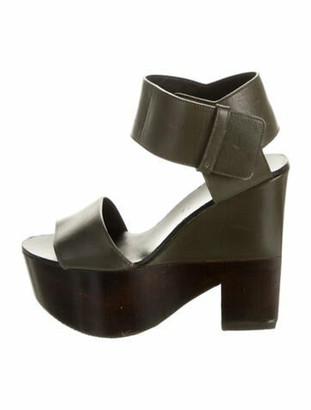 Celine Leather Sandals Green
