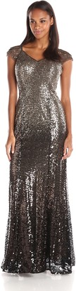 Ignite Women's Illusion Sleeve Ambree Sequened Evening Dress