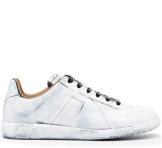 Maison Margiela Paint-Effect Leather Sneakers