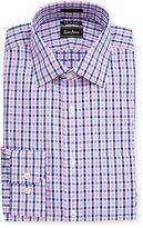 Neiman Marcus Trim-Fit Regular-Finish Plaid Cotton Dress Shirt, Pink