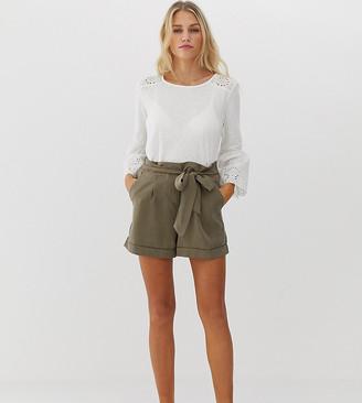 Esprit tie waist short in khaki-Green