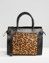 Urban Code Urbancode Leather Tote Bag With Leopard Front Pocket