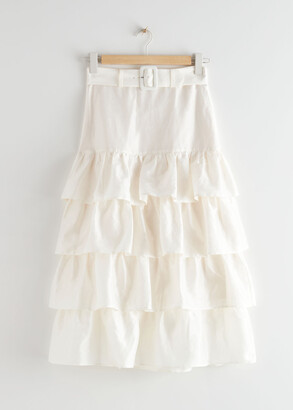 And other stories Belted Ruffle Midi Skirt