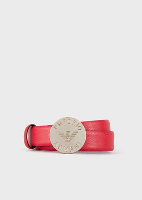 Emporio Armani Belt With Round Buckle And Engraved Logo