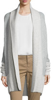 Vince Colorblock Ribbed Cashmere-Blend Cardigan