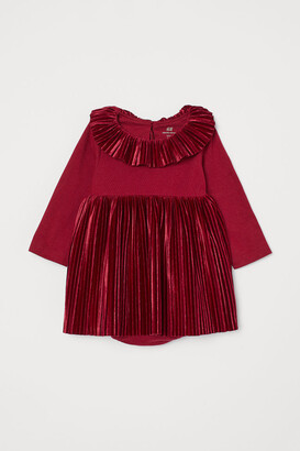 H&M Pleated Bodysuit Dress - Red